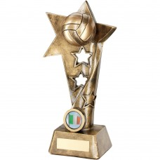 BRZ/GOLD GAELIC FOOTBALL TWISTED STAR COLUMN TROPHY - (1in CENTRE) 9in