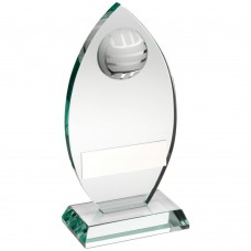 JADE GLASS PLAQUE WITH HALF GAELIC FOOTBALL TROPHY - 6.75in