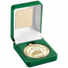 GREEN VELVET BOX AND 50mm MEDAL GAELIC FOOTBALL TROPHY - GOLD 3.5in