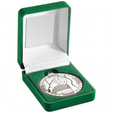 GREEN VELVET BOX AND 50mm MEDAL GAELIC FOOTBALL TROPHY - SILVER 3.5in