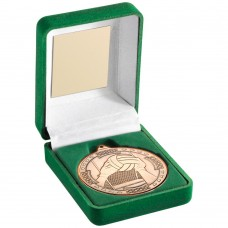GREEN VELVET BOX AND 50mm MEDAL GAELIC FOOTBALL TROPHY - BRONZE 3.5in