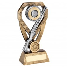 BRZ/PEW/GOLD SHOOTING RIFLE AND CLAY ON DIAMOND TROPHY (1in CENTRE) - 6in