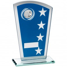 BLUE/SILVER PRINTED GLASS SHIELD WITH SHOOTING INSERT TROPHY - 6.5in