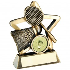 BRZ/GOLD BADMINTON MINI STAR TROPHY - (1in CENTRE) 3.75in