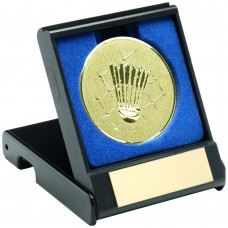 BLACK PLASTIC BOX WITH BADMINTON INSERT TROPHY - GOLD 3.5in