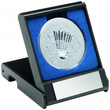 BLACK PLASTIC BOX WITH BADMINTON INSERT TROPHY - SILVER 3.5in