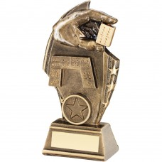 BRZ/GOLD DOMINOES CURVED PLAQUE TROPHY - (1in CENTRE) 5.5in