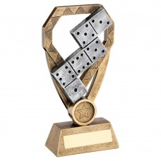 BRZ/PEW/GOLD DOMINOES ON DIAMOND TROPHY (1in CENTRE) - 6in