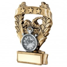BRZ/PEW/GOLD SWIMMING 3 STAR WREATH AWARD TROPHY - 5in