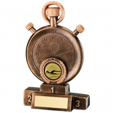 BRZ/GOLD SWIMMING STOPWATCH ON PODIUM TROPHY - (1in CENTRE) 5.25in