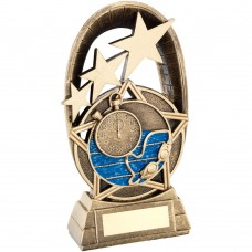 BRZ/GOLD/BLUE SWIMMING TRI STAR OVAL PLAQUE TROPHY - 5.5in