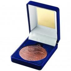 BLUE VELVET BOX AND 50mm MEDAL SWIMMING TROPHY - BRONZE 3.5in