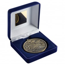 BLUE VELVET BOX AND 60mm MEDAL SWIMMING TROPHY - ANTIQUE GOLD - 4in