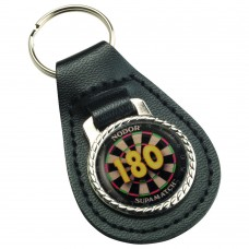 DARTS '180' BLACK LEATHER KEY FOB - 2.5in