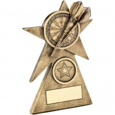 BRZ/GOLD DARTS STAR ON PYRAMID BASE TROPHY - (1in CENTRE) - 4in