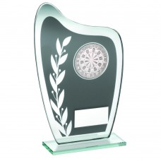 GREY/SILVER GLASS PLAQUE WITH DARTS INSERT TROPHY - 6.5in