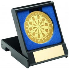 BLACK PLASTIC BOX WITH DARTS INSERT TROPHY - GOLD 3.5in