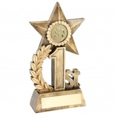 LEAF AND STAR AWARD TROPHY WITH ATHLETICS INSERT - GOLD 1ST - 6.25in