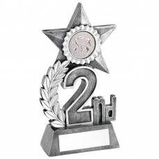 LEAF AND STAR AWARD TROPHY WITH ATHLETICS INSERT - SILVER 2ND - 5.5in