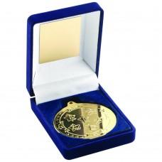 BLUE VELVET BOX AND 50mm MEDAL MULTI ATHLETICS TROPHY - GOLD 3.5in