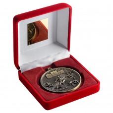 RED VELVET BOX AND 60mm MEDAL ATHLETICS TROPHY - ANTIQUE GOLD - 4in