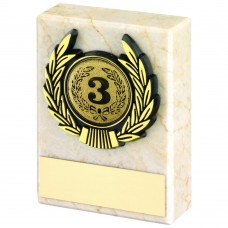 CREAM MARBLE AND GOLD TRIM TROPHY - (1in CENTRE) 3in