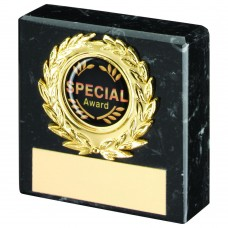 BLACK MARBLE AND GOLD TRIM TROPHY - (1in CENTRE) 2.5in