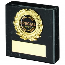 BLACK MARBLE AND GOLD TRIM TROPHY - (1in CENTRE) 3in