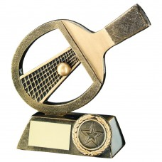 BRZ/GOLD TABLE TENNIS BAT/NET/BALL TROPHY - (1in CENTRE) 5in