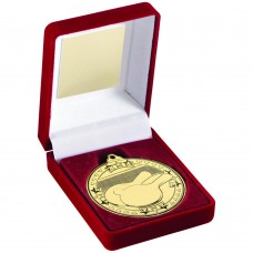 RED VELVET BOX AND 50mm MEDAL TABLE TENNIS TROPHY - GOLD - 3.5in
