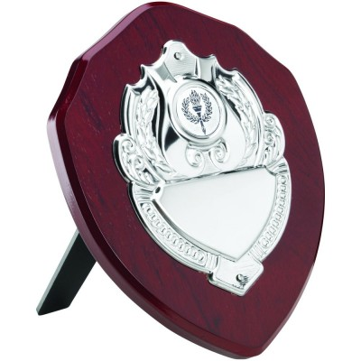 ROSEWOOD SHIELD WITH CHROME FRONT (1in CENTRE) - 6in