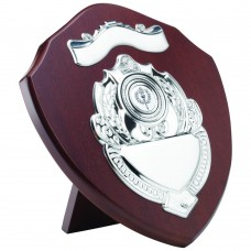 MAHOGANY SHIELD WITH CHROME FRONTS (1in CENTRE) - 9in