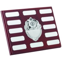 ROSEWOOD PLAQUE WITH CHROME FRONTS AND PLATES (1in CENTRE) - 12 PLATES 6 x 8in