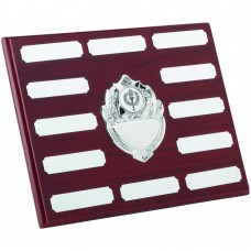 ROSEWOOD PLAQUE WITH CHROME FRONTS AND PLATES (1in CENTRE) - 12 PLATES 7 x 9in