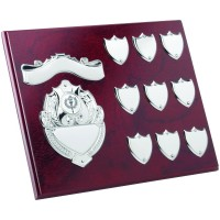 ROSEWOOD PLAQUE WITH CHROME FRONTS AND RECORD SHIELDS (1in CENTRE) - 8 x 10in