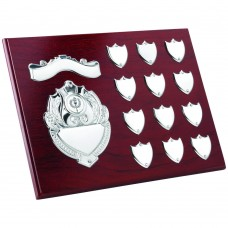 ROSEWOOD PLAQUE WITH CHROME FRONTS AND RECORD SHIELDS (1in CENTRE) - 9 x 12in