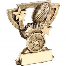 BRZ/GOLD RUGBY MINI CUP TROPHY - (1in CENTRE)  3.75in