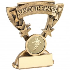 BRZ/GOLD MAN OF THE MATCH MINI CUP WITH RUGBY INSERT TROPHY - 3.75in