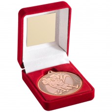 RED VELVET BOX AND 50mm MEDAL RUGBY TROPHY - BRONZE 3.5in