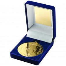 BLUE VELVET BOX AND 50mm MEDAL RUGBY TROPHY - GOLD 3.5in