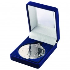 BLUE VELVET BOX AND 50mm MEDAL RUGBY TROPHY - SILVER 3.5in