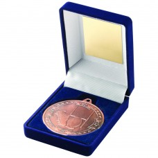 BLUE VELVET BOX AND 50mm MEDAL RUGBY TROPHY - BRONZE 3.5in