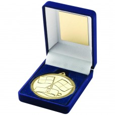 BLUE VELVET BOX AND MEDAL REFEREE TROPHY - GOLD - 3.5in