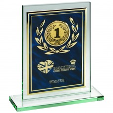 JADE GLASS PLAQUE WITH BLUE/GOLD ALUMINIUM FRONT TROPHY - (2in CENTRE) 8in