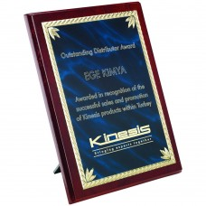 ROSEWOOD PLAQUE WITH BLUE/GOLD ALUMINIUM FRONT - 6in