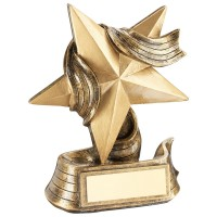 BRZ/GOLD STAR AND RIBBON AWARD TROPHY -       5.5in