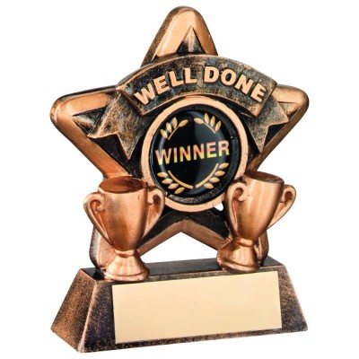 MINI STAR 'WELL DONE' TROPHY - BRZ/GOLD WELL DONE (1in CENTRE) 3.75in