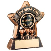 MINI STAR 'SPORTS DAY' TROPHY - BRZ/GOLD SPORTS DAY (1in CENTRE) 3.75in