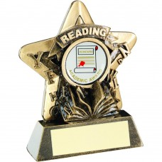 BRZ/GOLD READING MINI STAR TROPHY - (1in CENTRE) 3.75in