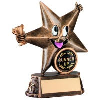 BRZ/GOLD RESIN GENERIC 'COMIC STAR' FIGURE TROPHY - (1in CENTRE) 4.5in